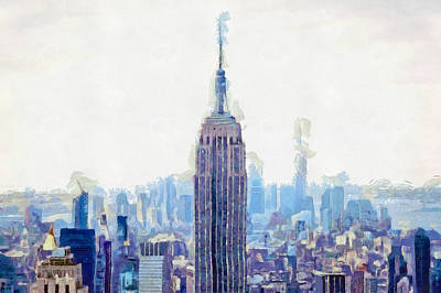 New York Skyline Art- Mixed Media Painting Print by Wall Art Prints