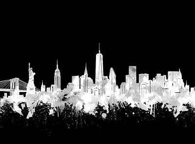 Cities Royalty-Free and Rights-Managed Images - New York Skyline Black And White 2 by Bekim Art