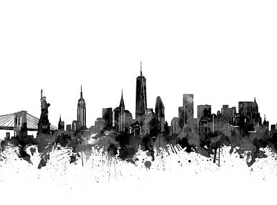 Skylines Royalty-Free and Rights-Managed Images - New York Skyline Black And White by Bekim Art