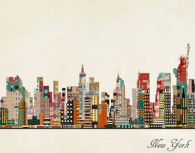 Painting - New York Skyline by Bleu Bri