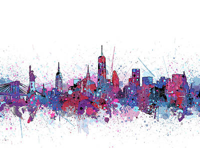 Cities Royalty-Free and Rights-Managed Images - New York Skyline Color Splatter by Bekim Art