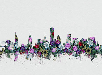 Skylines Royalty-Free and Rights-Managed Images - New York Skyline Floral 2 by Bekim Art