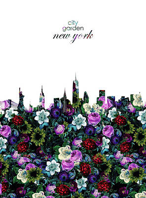 Skylines Royalty-Free and Rights-Managed Images - New York Skyline Floral 3 by Bekim Art