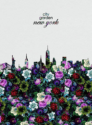Skylines Royalty-Free and Rights-Managed Images - New York Skyline Floral 4 by Bekim Art