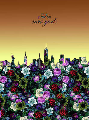 Skylines Royalty-Free and Rights-Managed Images - New York Skyline Floral 5 by Bekim Art