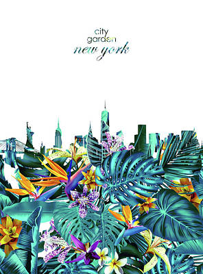 Cities Royalty-Free and Rights-Managed Images - New York Skyline Floral  6 by Bekim Art