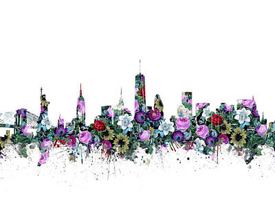 Skylines Royalty-Free and Rights-Managed Images - New York Skyline Floral by Bekim Art