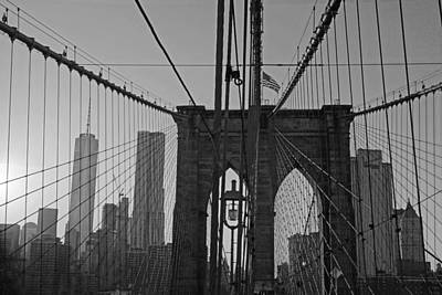 Photograph - New York Skyline From The Brooklyn Bridge Nyc by Toby McGuire