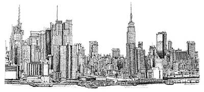 Times Square Drawing - New York Skyline In Ink by Adendorff Design