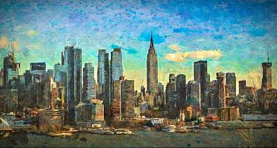 Digital Art - New York Skyline by Jacqueline Sleter