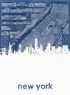 Cities Royalty-Free and Rights-Managed Images - New York Skyline Map 2 by Bekim Art