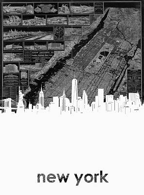 Skylines Royalty-Free and Rights-Managed Images - New York Skyline Map by Bekim Art