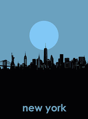 Skylines Royalty-Free and Rights-Managed Images - New York Skyline Minimalism 2 by Bekim Art