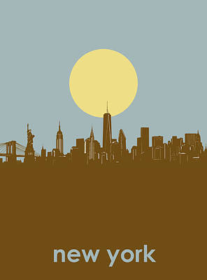 Skylines Royalty-Free and Rights-Managed Images - New York Skyline Minimalism 3 by Bekim Art