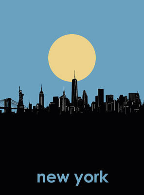 Skylines Royalty-Free and Rights-Managed Images - New York Skyline Minimalism 4 by Bekim Art