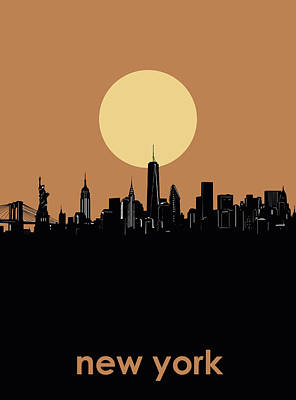 Skylines Royalty-Free and Rights-Managed Images - New York Skyline Minimalism 6 by Bekim Art