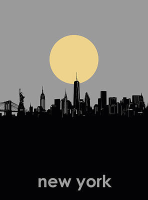 Cities Royalty-Free and Rights-Managed Images - New York Skyline Minimalism 7 by Bekim Art