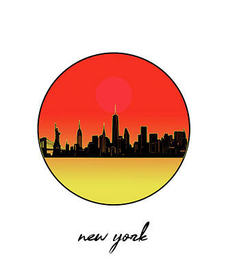 Skylines Royalty-Free and Rights-Managed Images - New York Skyline Minimalism 8 by Bekim Art