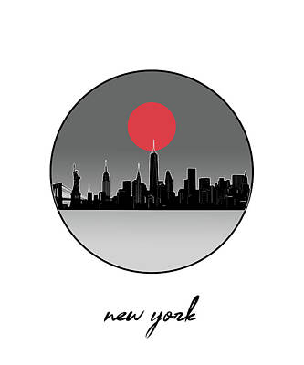 Skylines Royalty-Free and Rights-Managed Images - New York Skyline Minimalism 9 by Bekim Art