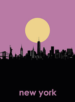 Cities Royalty-Free and Rights-Managed Images - New York Skyline Minimalism by Bekim Art