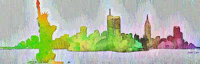 Terrorism Digital Art - New York Skyline Old Shapes 2 - Da by Leonardo Digenio