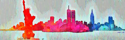 Terrorism Digital Art - New York Skyline Old Shapes - Da by Leonardo Digenio