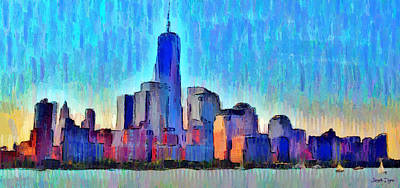 Exterior Painting - New York Skyline - Pa by Leonardo Digenio