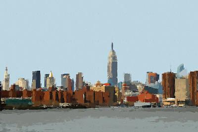 Digital Art - New York Skyline Painting 1 by Yury Malkov