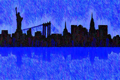 Landmarks Painting Royalty Free Images - New York Skyline Silhouette Blue - PA Royalty-Free Image by Leonardo Digenio