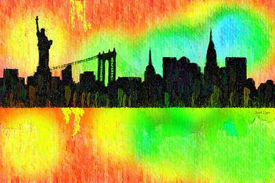 New York Skyline Silhouette Colorful - Pa Art Print
