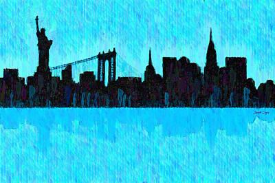 Bay Painting - New York Skyline Silhouette Cyan - Pa by Leonardo Digenio