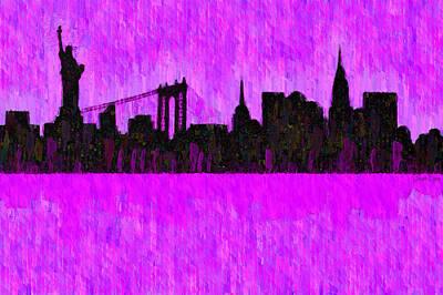 Manhatan Painting - New York Skyline Silhouette Purple - Pa by Leonardo Digenio