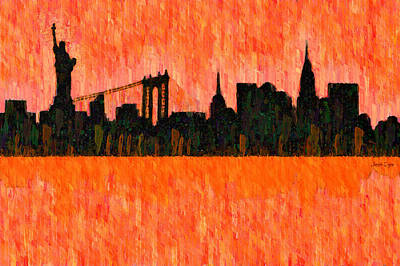 New York Skyline Silhouette Red - Da Art Print