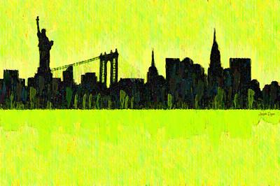 New York Skyline Silhouette Yellow-green - Da Art Print
