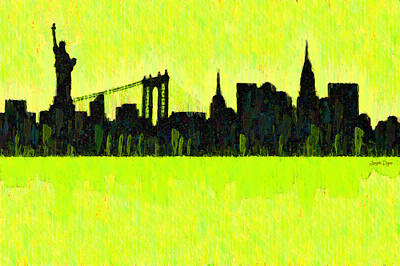 Terrorism Painting - New York Skyline Silhouette Yellow-green - Pa by Leonardo Digenio