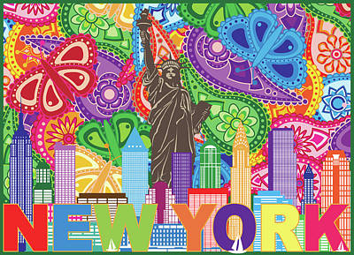 Photograph - New York Skyline Text Paisley Pattern Color Illustration by Jit Lim