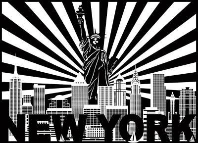 Photograph - New York Skyline Text Sun Rays Illustration by Jit Lim