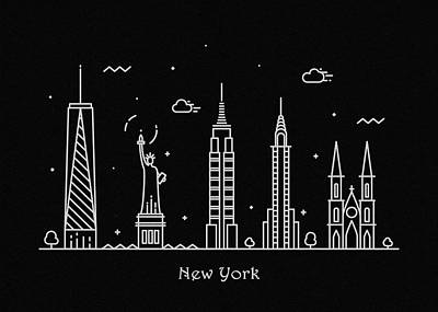 Drawing - New York Skyline Travel Poster by Inspirowl Design