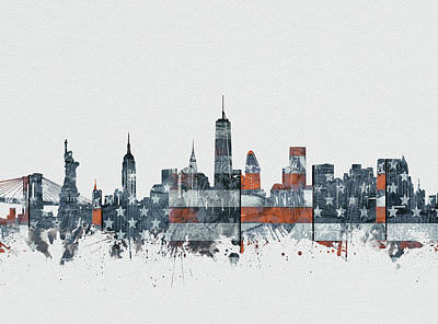 Skylines Royalty-Free and Rights-Managed Images - New York Skyline Usa Flag 2 by Bekim Art