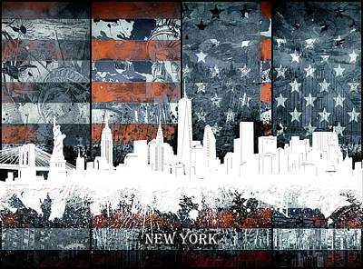 Skylines Royalty-Free and Rights-Managed Images - New York Skyline Usa Flag 3 by Bekim Art