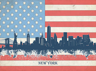 Skylines Royalty-Free and Rights-Managed Images - New York Skyline Usa Flag 4 by Bekim Art