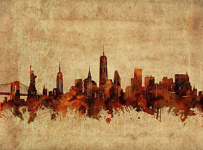 Skylines Royalty-Free and Rights-Managed Images - New York Skyline Vintage 2 by Bekim Art