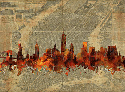 Cities Royalty-Free and Rights-Managed Images - New York Skyline Vintage 3 by Bekim Art