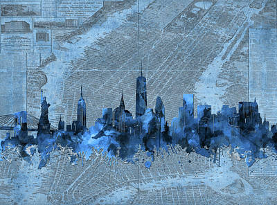 Skylines Digital Art - New York Skyline Vintage 4 by Bekim Art
