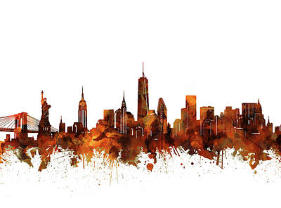 Cities Royalty-Free and Rights-Managed Images - New York Skyline Vintage by Bekim Art