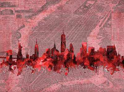 Skylines Royalty-Free and Rights-Managed Images - New York Skyline Vintage Red by Bekim Art