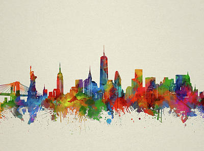 Cities Royalty-Free and Rights-Managed Images - New York Skyline Watercolor 2 by Bekim Art