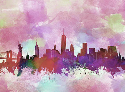 Skylines Royalty-Free and Rights-Managed Images - New York Skyline Watercolor 3 by Bekim Art