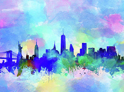 Skylines Royalty-Free and Rights-Managed Images - New York Skyline Watercolor 5 by Bekim Art