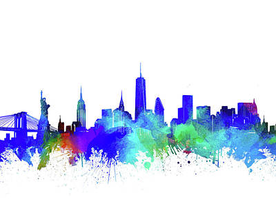 Skylines Royalty-Free and Rights-Managed Images - New York Skyline Watercolor 6 by Bekim Art